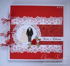Livro de assinaturas por Eliana Brands: Livro de assinaturas e caixinhas em tons de vermelho.