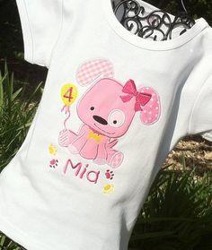 Personalized Appliqued Puppy Dog Birthday T Shirt. $19.95, via Etsy.