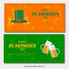 Happy saint patrick's day vintage banners #Free #Vector #Banner #Vintage #Party #Green #Beer #Banners #Spring #Happy #Celebration #Holiday #Hat #Culture #Traditional #Clover #Day #Celtic #Lucky #Greenbanner #Irish #Partyhat