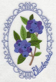Fruit Cameo - Blueberries design (M5057) from www.Emblibrary.com