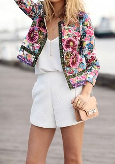 Multicolor Floral Print Embroidery Trench Coat. Absolutely love this look, those textures mmmm