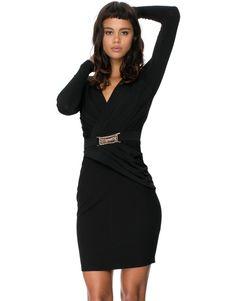 Deep V LS Dress by Lipsy