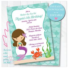 Editable Mermaid Under the Sea Birthday Invitation I Instant Download | Edit Online Instantly | Access and Personalize Immediately | Mermaid by ThenComesPaper on Etsy