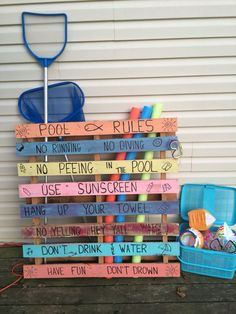 Source by karinka_ka Related posts: Simple DIY Pallet Pool Storage 30 Inspirational… Above Ground Pool Landscaping, Above Ground Pool Decks, Backyard Pool Landscaping, Ground Pools, Backyard Toys, Above Ground Swimming Pools, Pool Toy Storage, Pool Float Storage, Pool Rules Sign