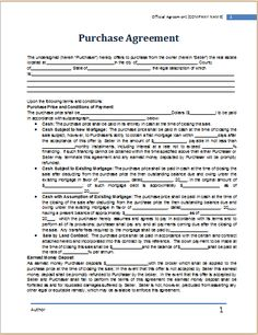 purchase agreement template at worddox.org
