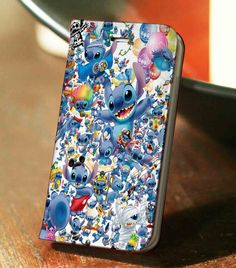 Disney Stitch Collage Wallet Case for iPhone 4, 4S, 5, 5S, 6, 6 Plus, 7, Samsung Galaxy S3, S4, S5, S6, S7 Case - LSNCONECALL.COM