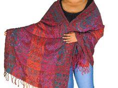 a148de994f Boho Beaded Wool Dressy Shawl Wrap - Paisley Kashmir Ladies Evening Long  Scarf…