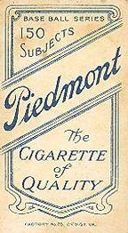 1909-11 The American Tobacco Company T206 White Border #NNO Tom Jones Back