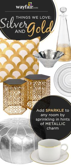 Dress up any room in your home with silver and gold accents.  Up to 70% off accent decor at Wayfair!