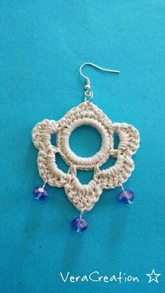 Orecchini uncinetto VeraCreation ☆: Crochet Jewelry Patterns, Crochet Earrings Pattern, Crochet Skirt Pattern, Crochet Flower Patterns, Crochet Accessories, Crochet Motif, Crochet Designs, Crochet Flowers, Crochet Lace