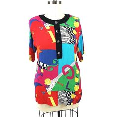 26a2bac0d8c Carole Little Crinkle Rayon Popover Size 14 Top Short Sleeve Abstract VTG  90s  CaroleLittle
