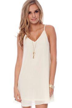 Deep Down Tunic Dress in Off White :: tobi