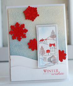 stamps: winter hills, snowflake medley ink: pure poppy, aqua mist, spring rain, blueberry sky, enchanted evening, smokey shadow cardstock:...