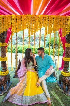 Looking for Bright yellow lehenga? Browse of latest bridal photos, lehenga & jewelry designs, decor ideas, etc. on WedMeGood Gallery. Tamil Wedding, Desi Wedding, Wedding Prep, Casual Wedding, Wedding Stuff, Bridal Mehndi Dresses, Wedding Dresses, Mehendi Outfits, Luxury Wedding Decor