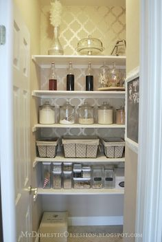 love the wallpaper baskets containersnot sure if the glass pantry makeoverorganized pantrypantry ideaskitchen