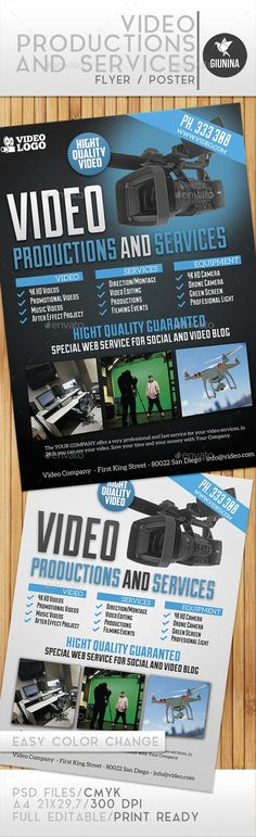 Video Production And Services Flyer/Poster - Envato Market #flyer #FlyerTemplate #template #CommerceFlyer #BestDesignResources