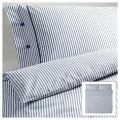 NYPONROS Duvet cover and pillowcase(s) - white/blue, King - IKEA