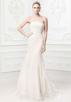 Soft Strapless Chantilly Wedding Gown With Tulle Overlay Zp345017 From Truly Zac Posen At