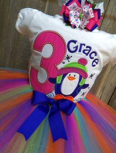 Custom Purple Penguin Birthday Theme Outfit  by bearyuniquegifts, $49.99