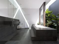 Excellent use of a skylight, windows and s privacy screen in this modern bathroom. The wall hung counter, large tiles and wall hung toilet add to the minimalist vibe.