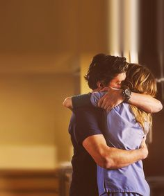 Thats a good hug! Im pretty sure that is Meredith and Derek! :)
