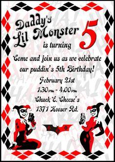 Harley Quinn Invitation by ARCTCDesigns on Etsy