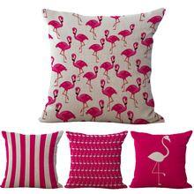 Moda Presentes Home Decor Pink Flamingos Rosa Vermelha 3D Impresso Linho Algodão Throw Pillow Caso Capa de Almofada de Volta 45*45 cm(China (Mainland))