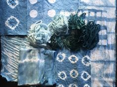 From the indigo vat- linen, cotton wool and silk all dyed with indigo from the garden. White Antler Dye Works