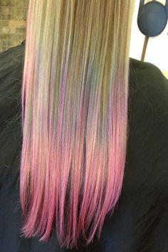 Rainbow pastel ombré hair - pravana - Freya Salon - teal purple pink