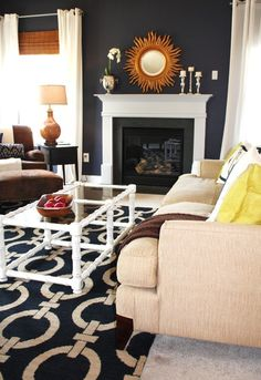 navy wall with blue rug?