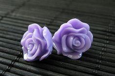 Flower Earrings Purple Rose Earrings. Post by StumblingOnSainthood, $8.00