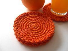 Orange Round Coasters  Citrus Mandarin Juice by MariMartin on Etsy,