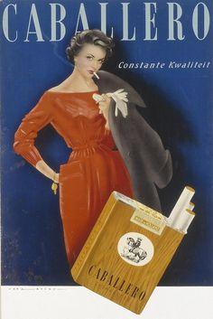 Showcard voor Caballero sigaretten, 1952