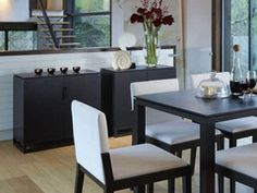 Dark and luxurious in black stained wenge veneer. A brilliant contemporary storage solution. Contemporary Cabinets, Contemporary Interior, Dining Bench, Dining Chairs, Small Sideboard, Black Stains, Wood Veneer, Storage Solutions, Dark