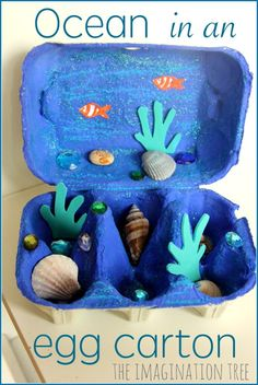 Egg Carton Crafts for Kids! Make one today! Ocean in an egg carton. 20 Adorable Egg Carton Crafts for Kids! Make one today! The Flying Couponer. Kids Crafts, Summer Crafts, Toddler Crafts, Beach Crafts For Kids, Arts And Crafts For Kids Toddlers, Disney Crafts For Kids, Camping Crafts For Kids, Craft Projects For Kids, Bible Crafts