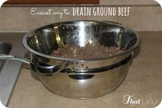Are you looking for a simple way to drain your ground beef?  Here is a super easy and clean way to do it in just seconds!