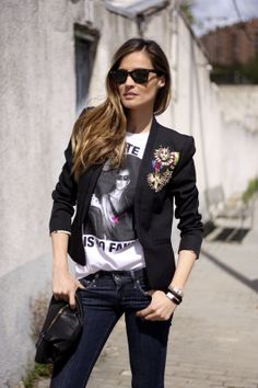 Crest blazer, casual tee, and jeans