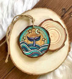 Excited to share the latest addition to my shop: Hand Painted and Wood Burned Whale Tail Ornament, Ocean Theme Wood Slice Hanging Wall Decor, Rustic Wood Whale Ornament, Colorful Whale Art art diy art easy art ideas art painted art projects Line Art Design, Wood Slice Crafts, Wood Crafts, Painted Rocks, Hand Painted, Painted Wood, Water Based Acrylic Paint, Wood Burning Art, Seashell Crafts