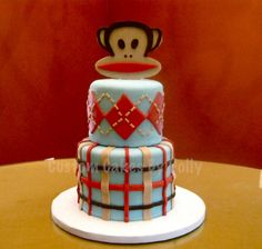 A Julius-themed cake with plaid and argyle! By CakeCentral user Hollyberry91. #paulfrank #julius #party #cake