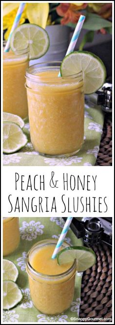 Peach & Honey Sangria Slushies - easy homemade frozen wine drink recipe | SnappyGourmet.com