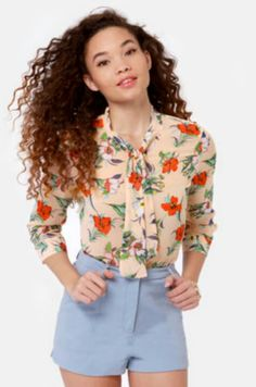 New hire-biscus peach floral top ♡