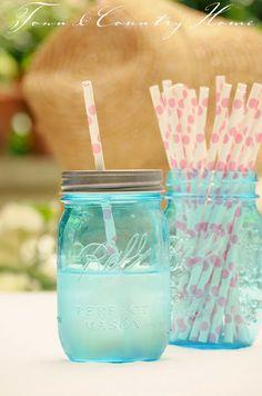 mason jars. Cute idea for a wedding reception!