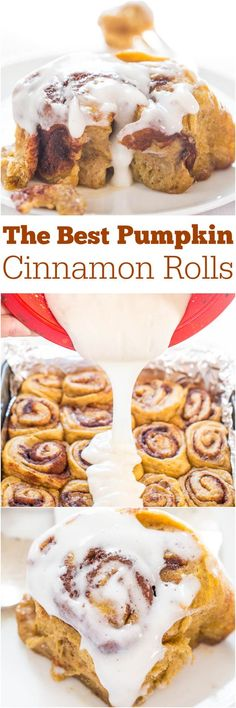 The Best Pumpkin Cinnamon Rolls - Super soft, fluffy, and topped with a cream cheese glaze! The Best Pumpkin Cinnamon Rolls - Super soft, fluffy, and topped with a cream cheese glaze! Beaux Desserts, Fall Desserts, Just Desserts, Delicious Desserts, Dessert Recipes, Yummy Food, Health Desserts, Pumpkin Recipes, Fall Recipes