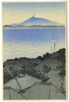 HASUI Japanese Woodblock Print Fuji from A Village 1930 | eBay