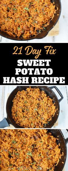 This sweet potato hash is so tasty and easy to make. If you are looking for a delicious recipe that the whole family will love this is the one! 21 Day Fix Breakfast, Healthy Breakfast Recipes, Lunch Recipes, Healthy Dinner Recipes, Healthy Eating, Healthy Foods, Sweet Potato Breakfast Hash, Sweet Potato Recipes, Meal Prep