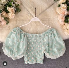 Available in 5 colours: Blue, Pink, Green, White and Black Dimensions in cm (one size) bust waist sleeve 36 length 35 Crop Top Outfits, Cute Casual Outfits, Pretty Outfits, Summer Outfits, Kpop Fashion Outfits, Girls Fashion Clothes, Girl Outfits, Aesthetic Clothes, Cute Dresses