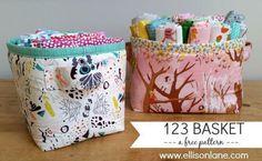 Free Pattern for 123 Fabric Basket - https://sewing4free.com/123-fabric-basket/