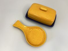 Blue Butter Dish and Spoon Rest Set