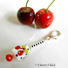 Cherry Lampwork glass Purse Charm, Beaded Zipper Pull, Scissor minder by Decorative Sewing Pins