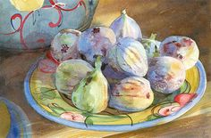 French figs on handpainted plate Watercolour by AnneliesClarke